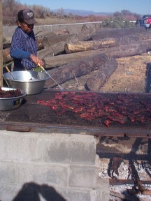 Cooking buffalo meat, picture by C. Craig